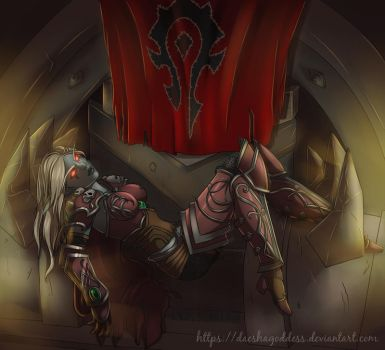 Sylvanas on her throne! Color by Daeshagoddess