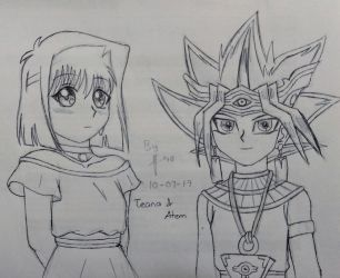 YGO ::Teana and Atem:: Sketch by Sunney90