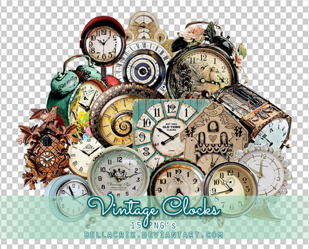 Vintage Clocks PNGs by Bellacrix