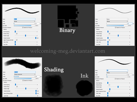 Binary, Shading and Ink Brushes by SpacialHair