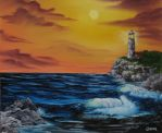 Sunset Lighthouse by crazycolleeny