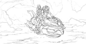 Punk Garrus and Tali sketch by AndrewRyanArt