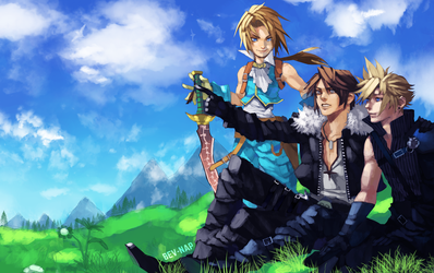 Zidane, Squall and Cloud (Commission) by Bev-Nap