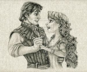 Flynn and Rapunzel Fabric Drawing by daphnetails