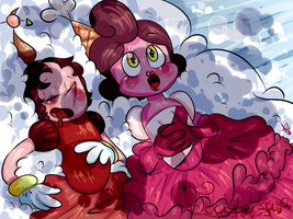 Cuphead| Hilda snores on a date by Toaster-a