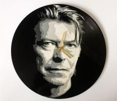 David Bowie painted on vinyl record by vantidus