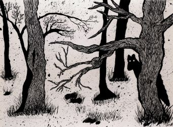 Werewoof In The Woods - Ink by leopardwolf
