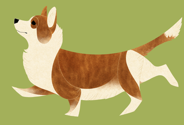 Geometric dogs - Welsh Corgi Cardigan by Kelgrid