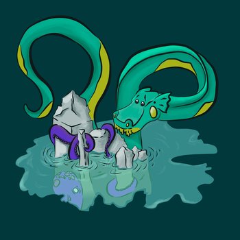 The Sea Monster And The Kraken v2 by Xenophilius-Lovegood