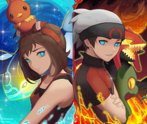 A/O - Brendan and May (Pokemon ORAS) [Speedpaint] by Hiro-Arts