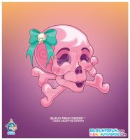 Kawaii Halloween Pink Skull by KawaiiUniverseStudio