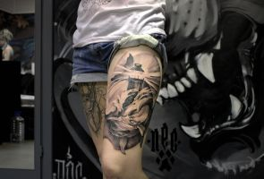 Whale lighthouse tattoo by EGOR-DOG