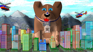 friendy giant dog saving city by Scott-A-T-art