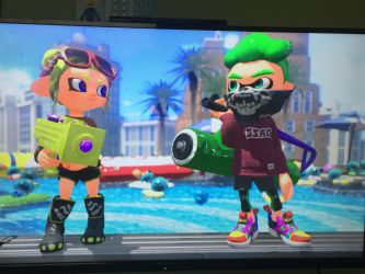 My octoling in game and Party by PartyTyme3000