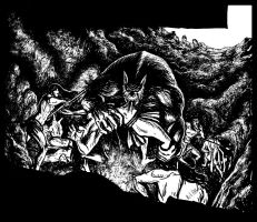 Monster-fight Inking sample by Benjamin-the-Fox