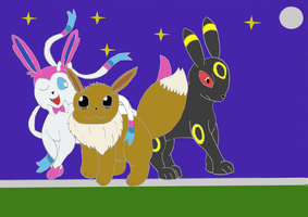 Eevee, Sylveon And Umbreon Night Stroll by MNIM73