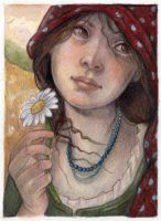 Peasant Girl Picking Daisies by WhimsicalMoon