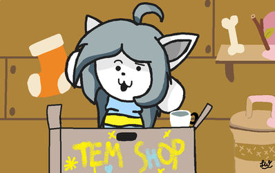 Temmie at Tem shop!!!! :D by LittleARTicWolf