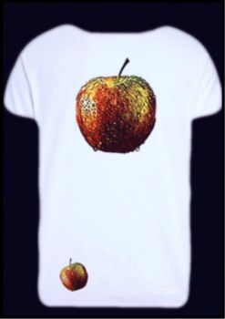 -red apple on white t-shirt- by Gold-Angel