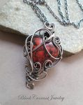 Red Jasper with Dark Sterling Silver Heart Pendant by blackcurrantjewelry