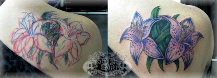 Flower cover up by state-of-art-tattoo