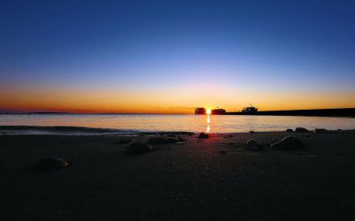 Sunrise And The Ferries by aquapell