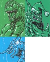 Commission Sketch Cards by AlmightyRayzilla