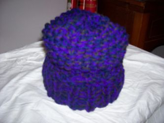Warm Purple, Blue, and Brown hat by catluvr2