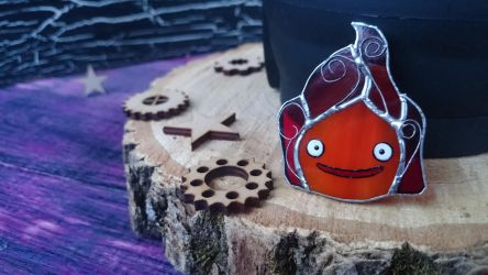 Stained Glass Brooch Calcifer Glass Art by Art-Brother