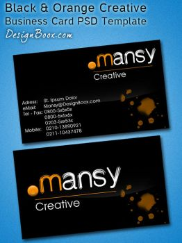 Black / Orange Creative Business Card PSD Template by MansyDesignTools