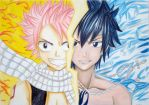 Natsu and Gray - Fire and Ice by Mizalee