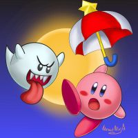 kirby and boo by HornedNinja