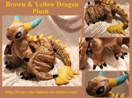 Brown and Yellow Dragon Plush - Commission by Forge-Your-Fantasy