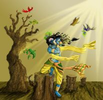 Krishna raging a war by saumitrakabra