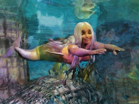 Nude dolphin mermaid girl swimming - fantasy art by Cyberalbi