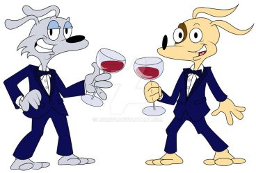 Mad Dog and Spot looking fancy by LooeyQ