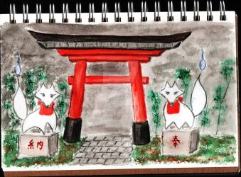 Guardians of the gate by KittyrinnAiko