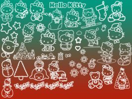 Hello Kitty Christmas Brushes by xXxDiamondxXx
