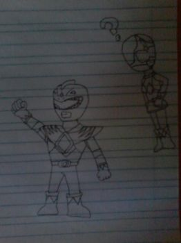 Green and Pink Rangers sketch by Yagoshi
