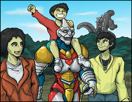 Commission - Jet Jaguar 'n Gang colored by AlmightyRayzilla