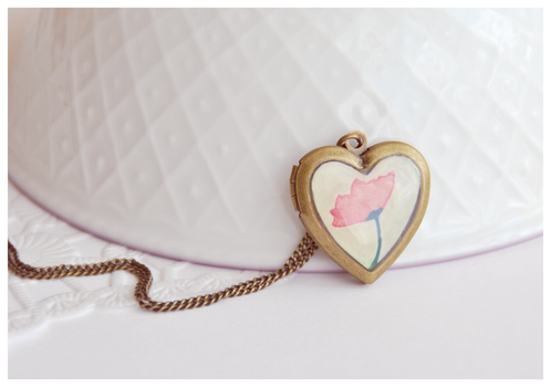 Poppy Heart Locket Necklace by Leviana