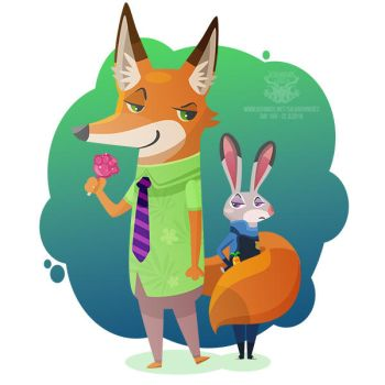 Day 186 - the fox and bunny by salvadorkatz