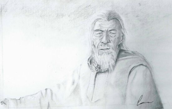 Gandalf the white in grayscale by carr0w