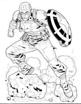 wwii Captain America Inks by JosephLSilver