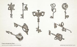 An assortment of keys by Edarneor