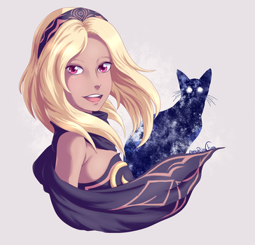 The Gravity Queen and her cat by NekoRikaChan