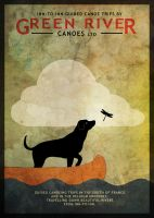 Black Dog and Dragonfly by houselightgallery