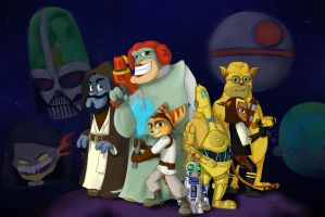 Ratchet and Clank MEETS Star Wars by SpaceSheep-Art