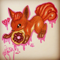 Vulpix and Donut by Ivsu
