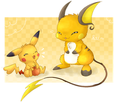 Pikachu and Raichu by KiwiBeagle